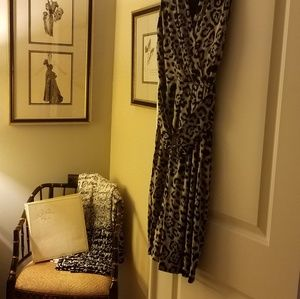 Black & Gray Cheetah Print Faux Wrap Dress